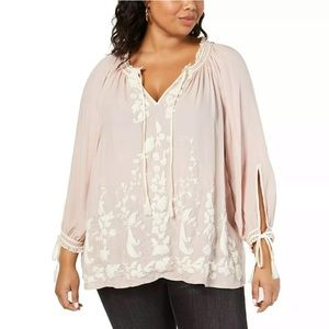 Lucky Brand Embroidered Peasant Top 1X Dusty Rose